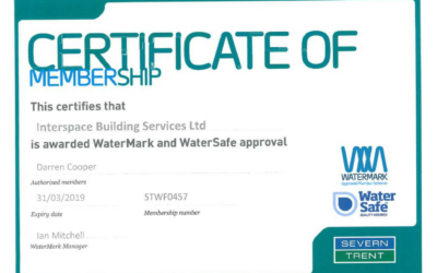 Interspace Building Services Ltd Awarded WaterMark and WaterSafe Approval by Severn Trent Water.